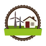 Circular landscape with cottage and eolic turbines. Vector illustration vector illustration Stock Photo
