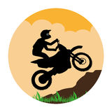 Circular landscape with sports motorcyclist Royalty Free Stock Image