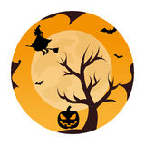 Circular landscape of tree and witch in halloween night Stock Images