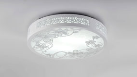 Circular led  lamp on ceiling Stock Photo
