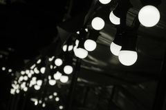 Free Circular LED Light Fixture Bulb Setup Decoration Outdoor Booth In Fair Selective Focus Stock Images - 102571054