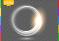 Circular lens flare transparent light effect. Abstract ellipse border. Transparency in additional format only. Luxury shining rotational glow line. Power energy royalty free illustration
