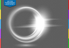 Circular lens flare transparent light effect. Transparency in additional format only. Abstract ellipse white luxury shining rotational glow line. Power energy vector illustration