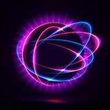 Circular lens flare. Vector light effect. The object s light stroke. Circular lens flare. Abstract rotational lines. Power energy element. Luminous sci-fi Stock Photography