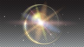 Circular light rays and lens flare backdrop,  on trasparent. Glow light effect. Star burst with sparkles. Abstract bright motion background. Dynamic digital Stock Photo