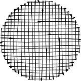 Circular liquid black stripe grid pattern over white Stock Photo