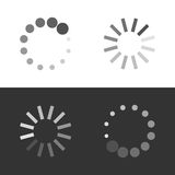 Circular loading sign. Collection icons of modern preloaders. Vector illustration isolated on white and black background Royalty Free Stock Image