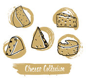 Circular logo with hand drawn cheese in vintage style. Ready design for packaging, logo, food shop, etc. Vector Illustration. Royalty Free Stock Image