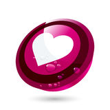 Circular love heart button Stock Image