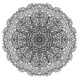 Circular mandala with floral elements and spiral pattern coloring page  illustration Royalty Free Stock Photos