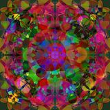 CIRCULAR MANDALA. KALEIDOSCOPE IMAGE. ABSTRACT BACKGROUND. BRIGHT PALLET IN FUCHSIA, RED, GREEN, YELLOW, BLUE vector illustration