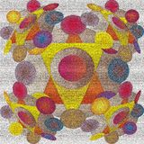 CIRCLES MANDALA, CIRCULAR MANDALA IN 3D IMAGE, TEXTURE BACKGROUND, YELLOW AND ORANGE TRIANGLES IN THE CENTER, PURPLE, BLUE, RED royalty free illustration