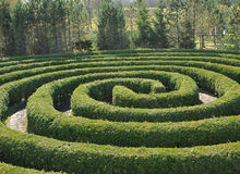 Circular maze. The paths of a circular maze in fall Royalty Free Stock Photos
