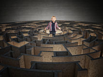 Circular maze and child Royalty Free Stock Photography