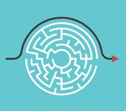 Circular maze, bypass route. Circular maze with entrance and exit and bypass route arrow going around it. Problem and solution concept. Flat design. Vector Stock Photos