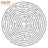 Circular maze with solution in eps. Isolated circular maze with solution in eps Royalty Free Stock Photo