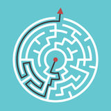 Circular maze with solution. Circular maze with way from center to exit on turquoise blue background. Problem, confusion and solution concept. Flat design. EPS 8 Stock Photo