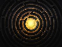 Circular maze with a bright light in teh center royalty free stock images