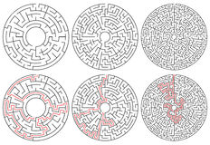 Circular mazes. 3 version with different complexity. Royalty Free Stock Image