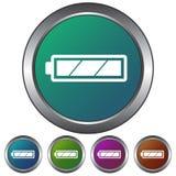 Circular, metálico, ícone completo da bateria do inclinação Cinco variações da cor Isolado no branco imagem de stock royalty free