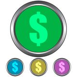 Circular, metallic dollar sign icon. Four color variations. Isolated on white vector illustration