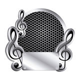 Circular metallic frame with grill perforated and musical notes icon relief Stock Images