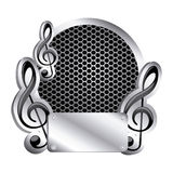 Circular metallic frame with grill perforated and musical notes Royalty Free Stock Photography