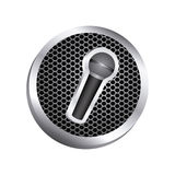 circular metallic frame with grill perforated and wireless dynamic microphone icon relief Royalty Free Stock Photo