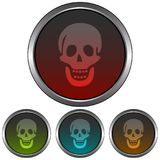 Circular, metallic skull icon. Four color gradient variations. Isolated on white vector illustration