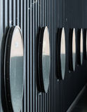Circular Mirrors. Placed in a building Royalty Free Stock Photography