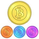Circular, moneda del bitcoin de la pendiente Esquema negro Cuatro vacaciones del color stock de ilustración