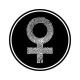 Circular, monochrome female symbol made up of a fingerprint icon. Isolated on white Stock Photo