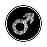 Circular, monochrome male symbol made up of a fingerprint icon stock illustration