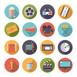 Circular movie and cinema icons vector set. Stock Image