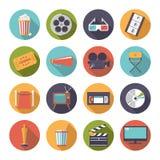 Circular movie and cinema icons vector set. Stock Image