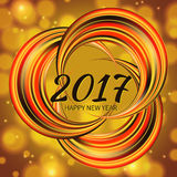 Circular multicolored rainbow. New Year 2017 celebration background. Frame of circular multicolored rainbow on defocus background and bokeh effect.Greeting card Royalty Free Stock Photos
