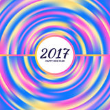 Circular multicolored rainbow. New Year 2017 celebration background. Frame of circular multicolored rainbow.Greeting card template. Vector illustration Stock Image
