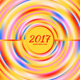 Circular multicolored rainbow. New Year 2017 celebration background. Frame of circular multicolored rainbow.Greeting card template. Vector illustration Royalty Free Stock Photo