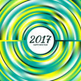 Circular multicolored rainbow. New Year 2017 celebration background. Frame of circular multicolored rainbow.Greeting card template. Vector illustration Royalty Free Stock Photography
