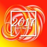 Circular multicolored rainbow. New Year 2017 celebration background. Frame of circular multicolored spiral shape, swirling rainbow.Greeting card template. Vector Stock Image