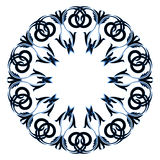Circular ornament black with blue color on a white background. Vector Royalty Free Stock Photos