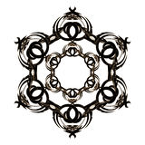 Circular ornament black with light brown color on a white background Stock Image