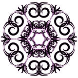 Circular ornament black with pink color on a white background. Vector Stock Photo