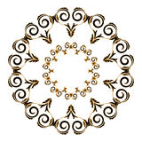 Circular ornament black with yellow color on a white background. Vector Stock Image