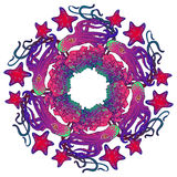 Circular ornament with octopus, starfish and coral reef in Art Nouveau style Stock Images