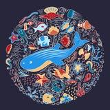 Circular ornament from sea animals, fish. Shells, fish, deep-sea animals of the sea and ocean. Artistic lines. Template circular ornament. Beautiful, marine Stock Photo