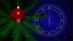 2019 New Years toy on a Christmas tree. Vintage white outline clock. Last 10 seconds to 12 oclock. 4K stock footage stock illustration