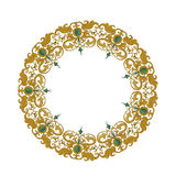 Circular ornament with traditional medieval elements on isolated white Royalty Free Stock Image