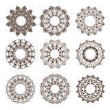 A circular ornaments o vintage da mandala com elementos florais Foto de Stock