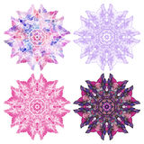 Circular ornaments. Set of circular ornaments in the style of a mandala, isolated on white background. Vector illustration Stock Images